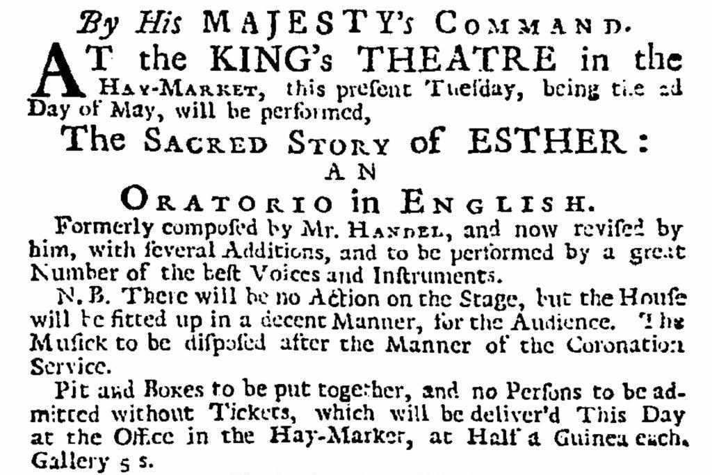 A photograph of an original advertisement for Handel's Esther. Original advertisement for Handel's Esther.