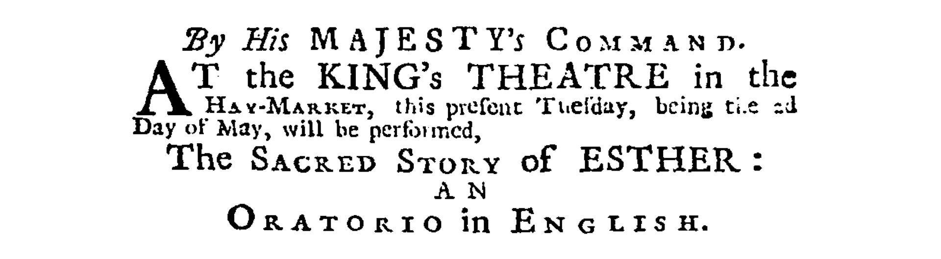 Original advertisement for Handel's Esther, The Daily Journal, 2 May 1732 © British Library Board (Burney Collection Newspapers)