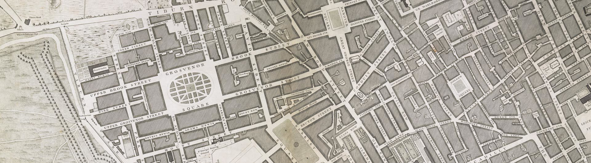 John Rocque, A Plan of the Cities of London and Westminster, The Borough of Southwark, And the Contiguous Buildings […] Engraved from an Actual Survey made by John Rocque (London: 1745) © British Library Board (Cartographic Items Maps Crace Port. 3.104, sheets A2 and B2)