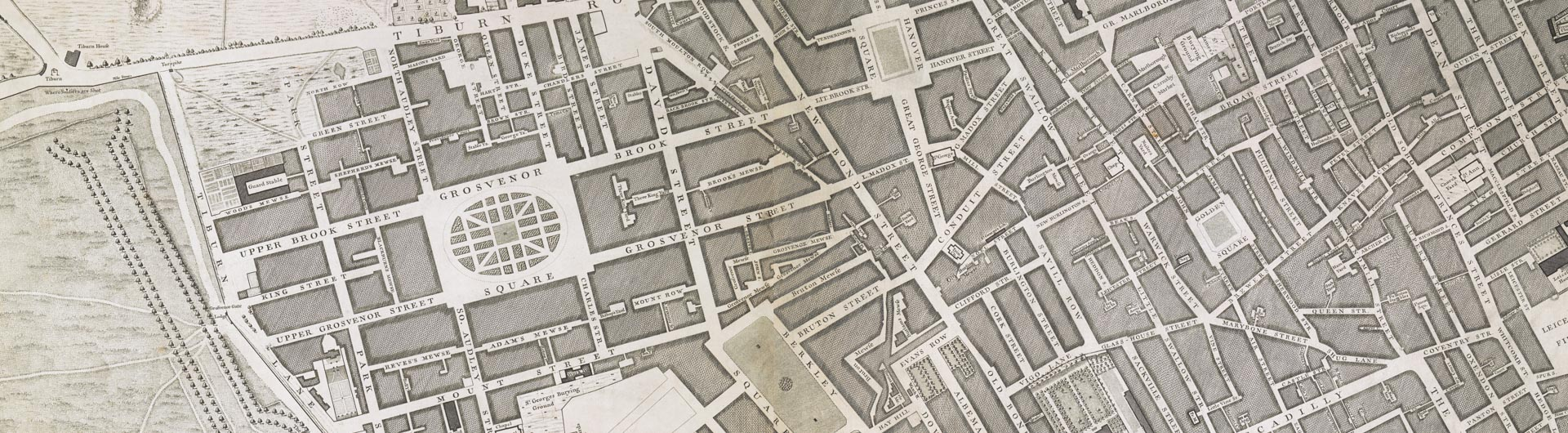 John Rocque, A Plan of the Cities of London and Westminster, The Borough of Southwark, And the Contiguous Buildings [...]  Engraved from an Actual Survey made by John Rocque (London: 1745) © British Library Board (Cartographic Items Maps Crace Port. 3.104, sheets A2 and B2)